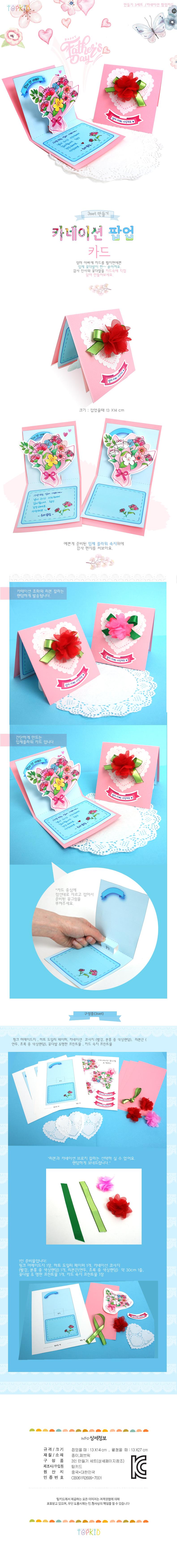 만들기 카네이션 팝업 카드(3set) - 하비파티, 4,000원, 종이공예/북아트, 카드 패키지
